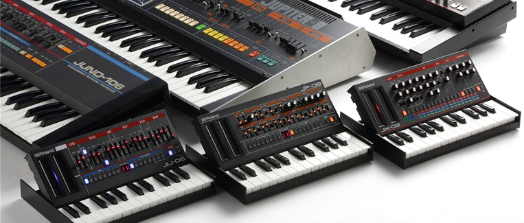 Three originals (Juno-106, Jupiter-8, JX-3P) above the three new