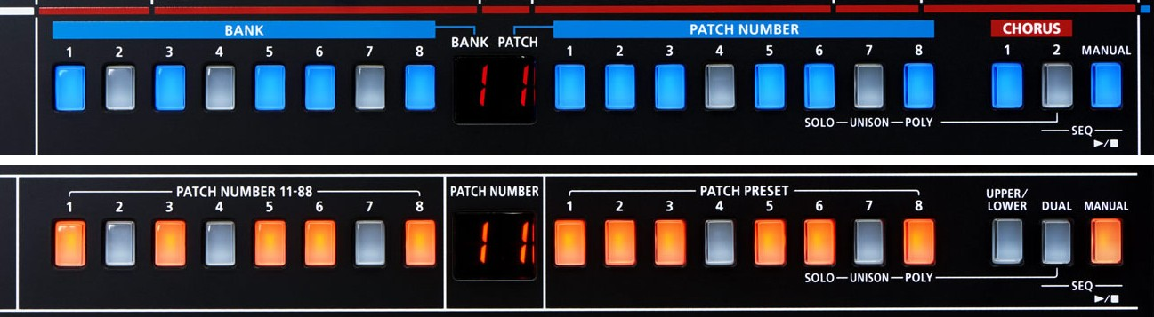 The patch selection button rows of the JU-06 and the JP-08